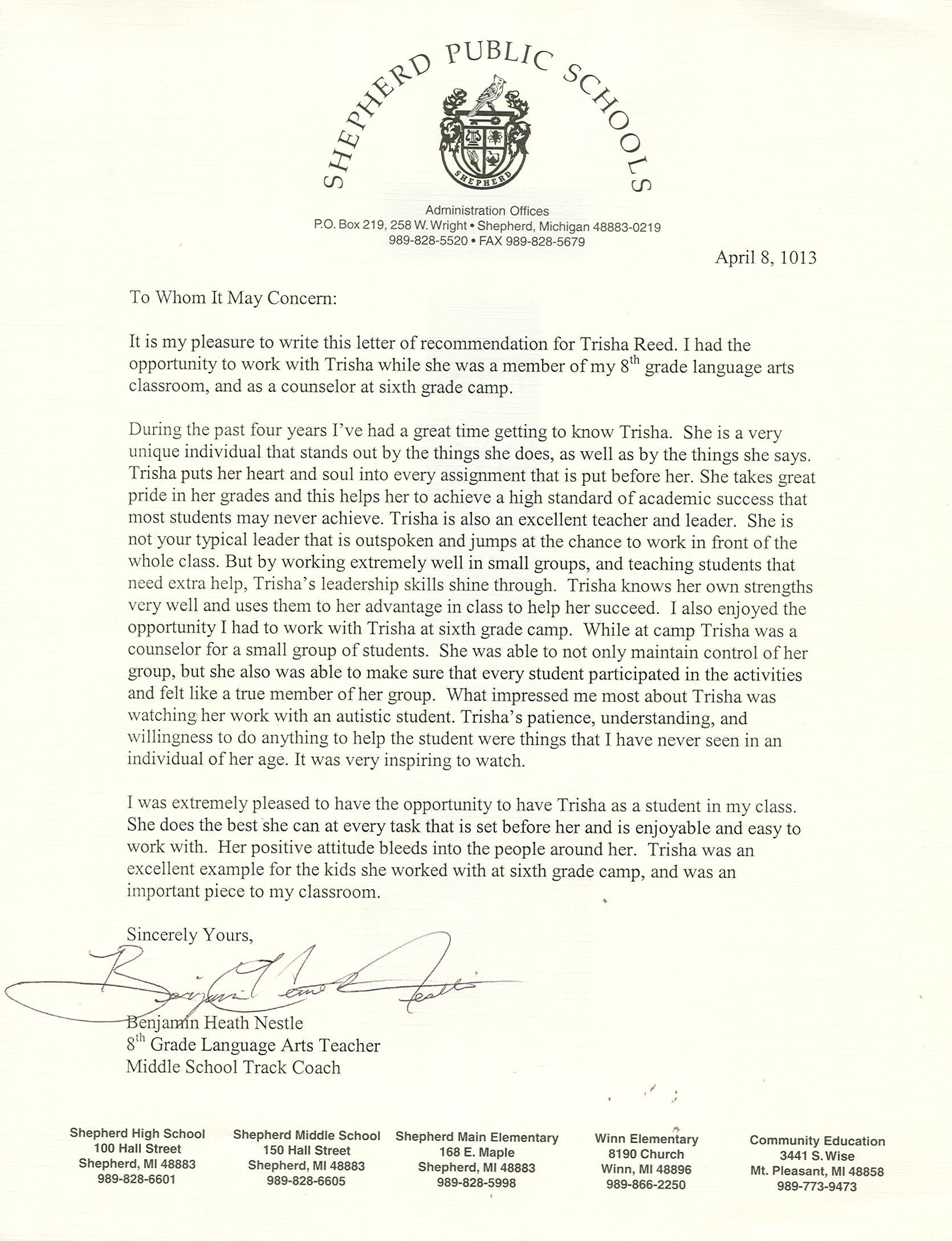 Personal Testimony  Trisha Reed